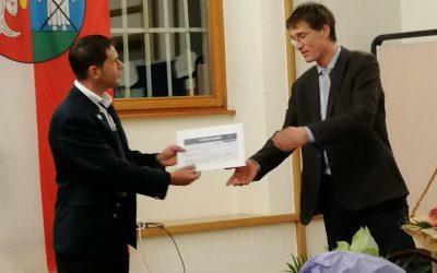 Übergabe  Jubiläumszuschuß der Gemeinde Kappel-Grafenhausen durch Bürgermeister Paleit